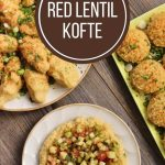 overhead view of several plates of red lentil kofte served in different ways