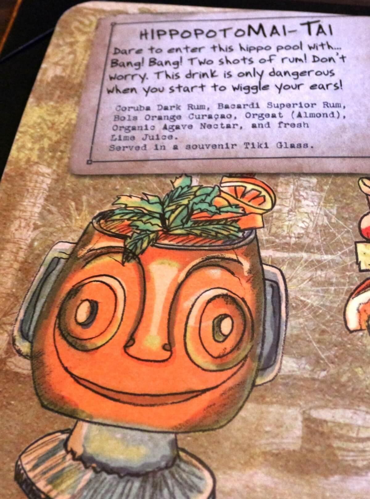 a page of the drink menu at Trader Sam's