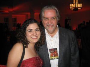 Victoria Kabakian and Matt Groening posing for a photo