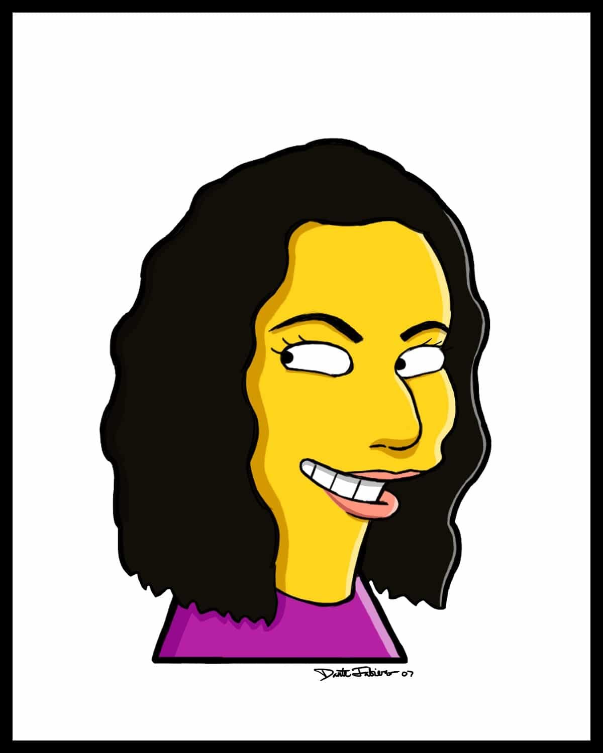 a Simpsons style caricature of a woman with dark wavy hair