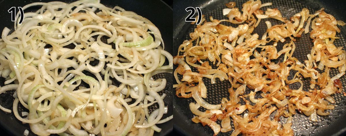 before and after photos of cooking caramelized onions in a pan.