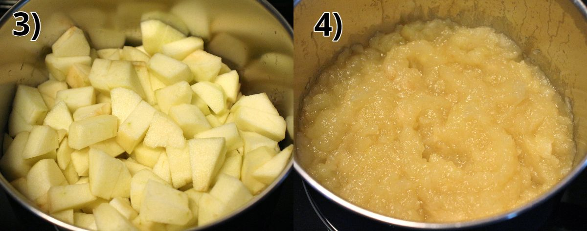 before and after photos of making homemade applesauce in a saucepan.