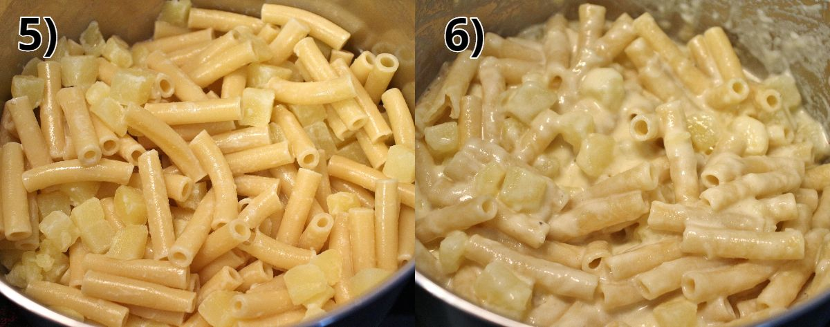 before and after photos of stirring cheese in a pot of Swiss mac and cheese
