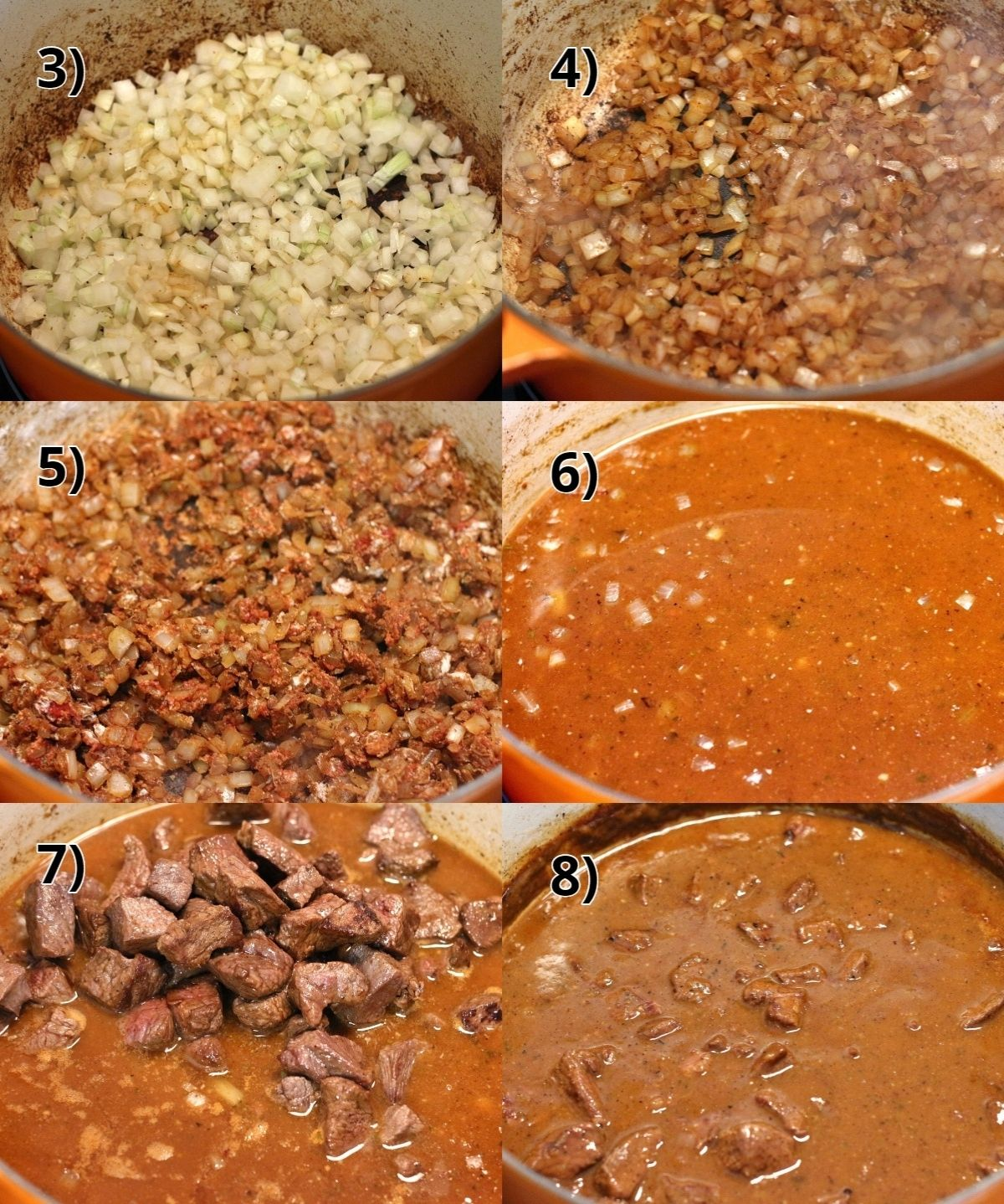 step by step photos of how to make Czech beef goulash