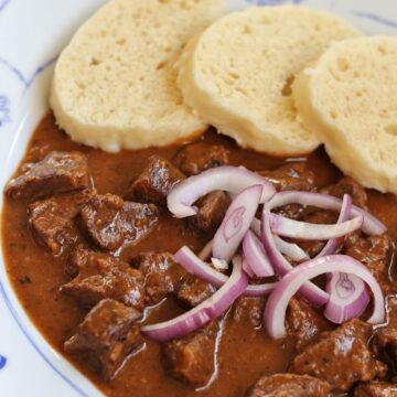 closeup of Czech beef goulash and dumplings with red onions on top