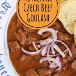 overhead view of Czech beef goulash with red onion and dumplings