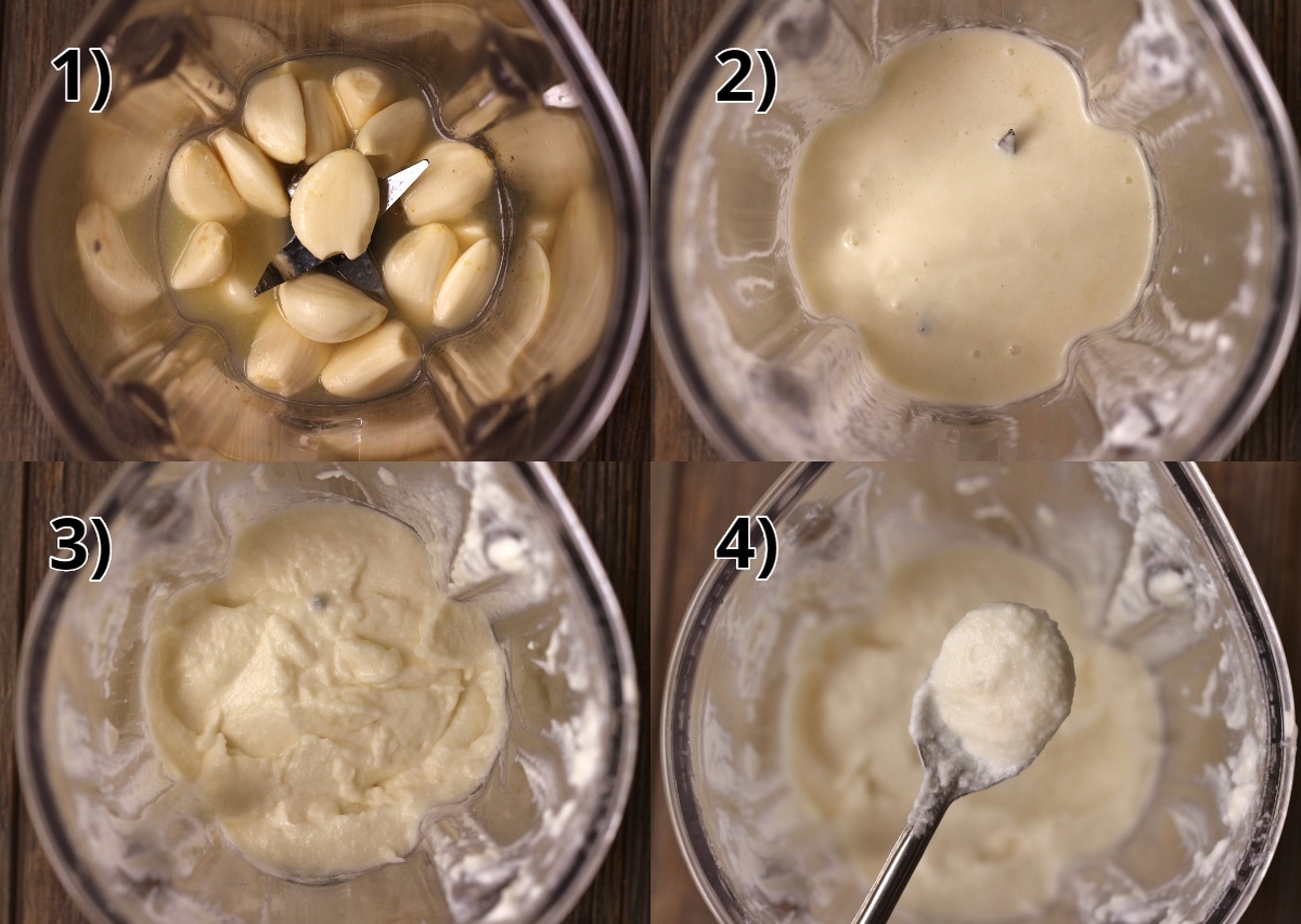 step by step photos of blending Zankou Chicken garlic sauce