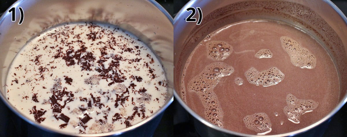 Step-by-step photos of making homemade hot chocolate from scratch in a saucepan.