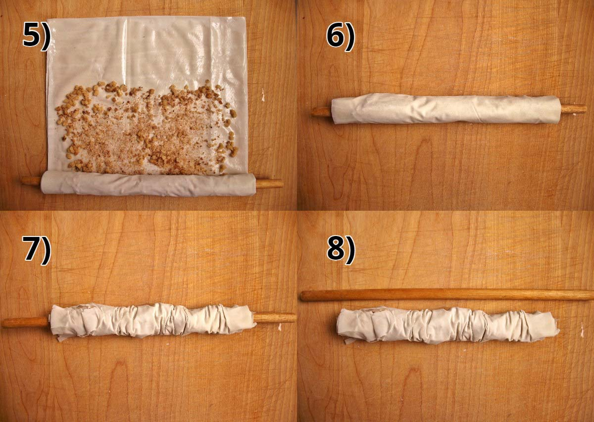 Step-by-step photos of how to roll sari burma over a wooden dowel.