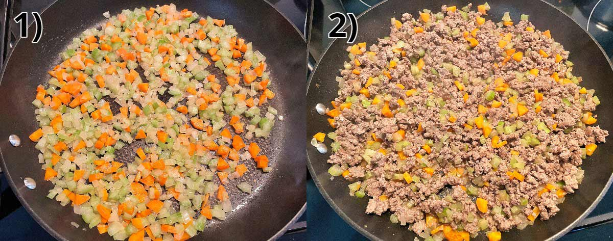 Step-by-step photos of cooking vegetables and adding ground beef to a skillet.