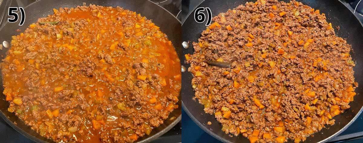 Adding broth to a skillet of ground meat, and then reducing it until mostly evaporated.