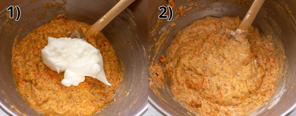 Step-by-step photos of folding beaten egg whites into carrot cake batter.
