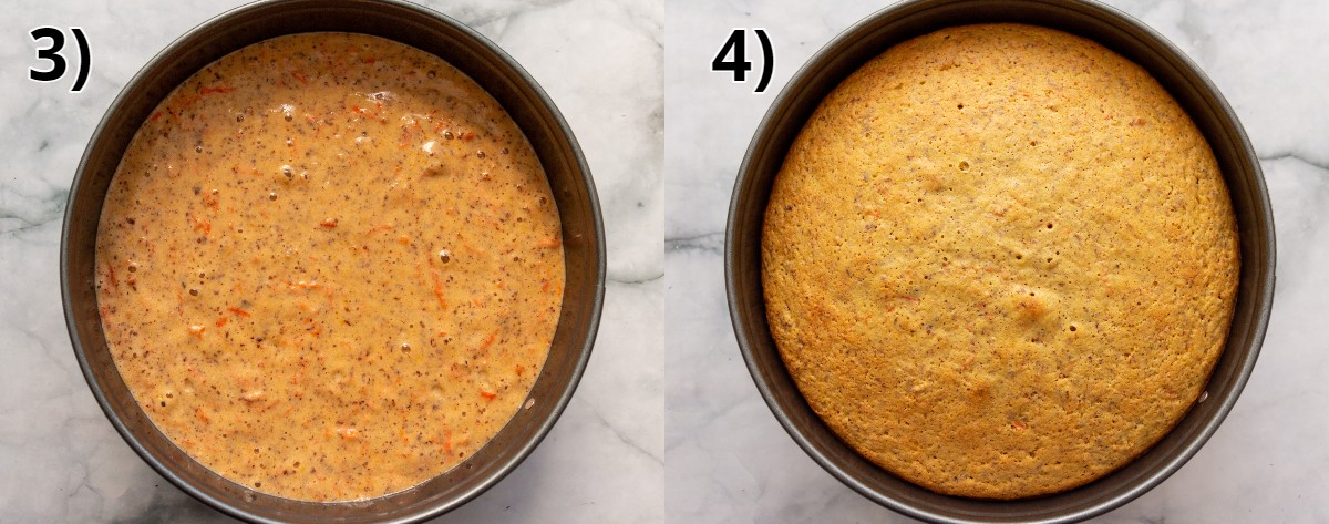 Swiss carrot cake in a round pan before and after baking.