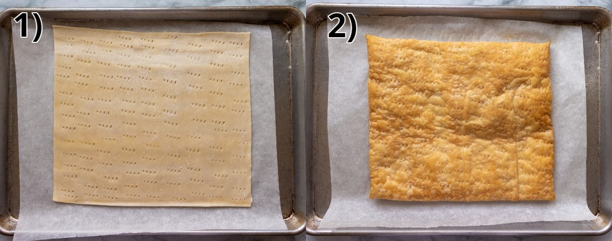 A sheet of puff pastry on a baking sheet before and after baking.