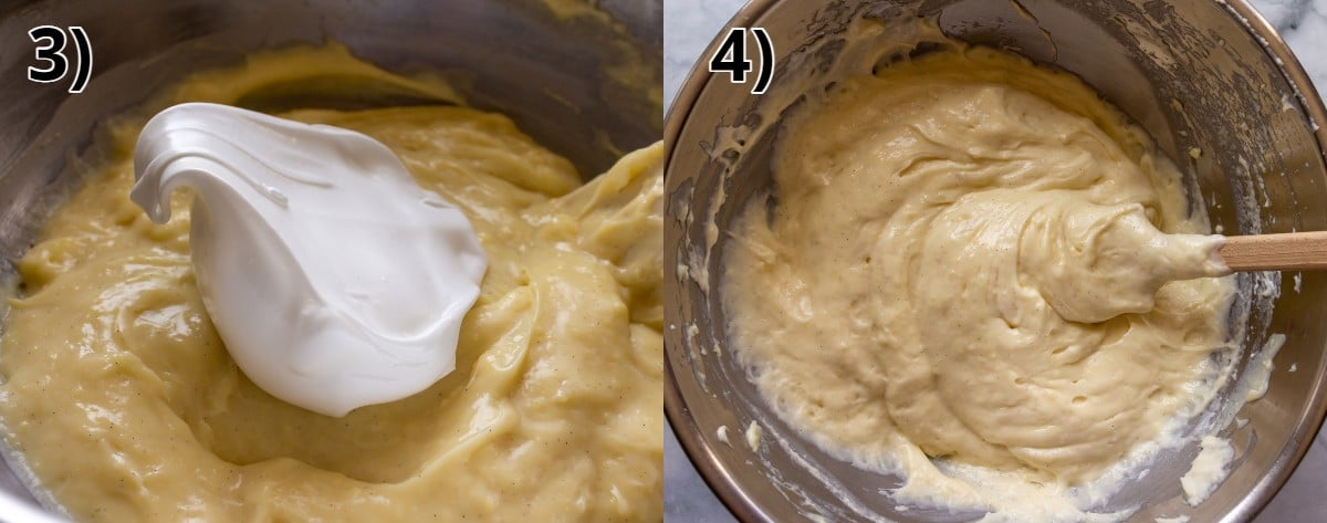 A metal bowl of custard before and after folding in glossy meringue.