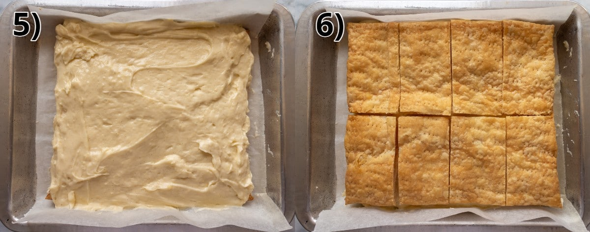 Step by step photos of assembling Austrian cream slices in a metal pan.
