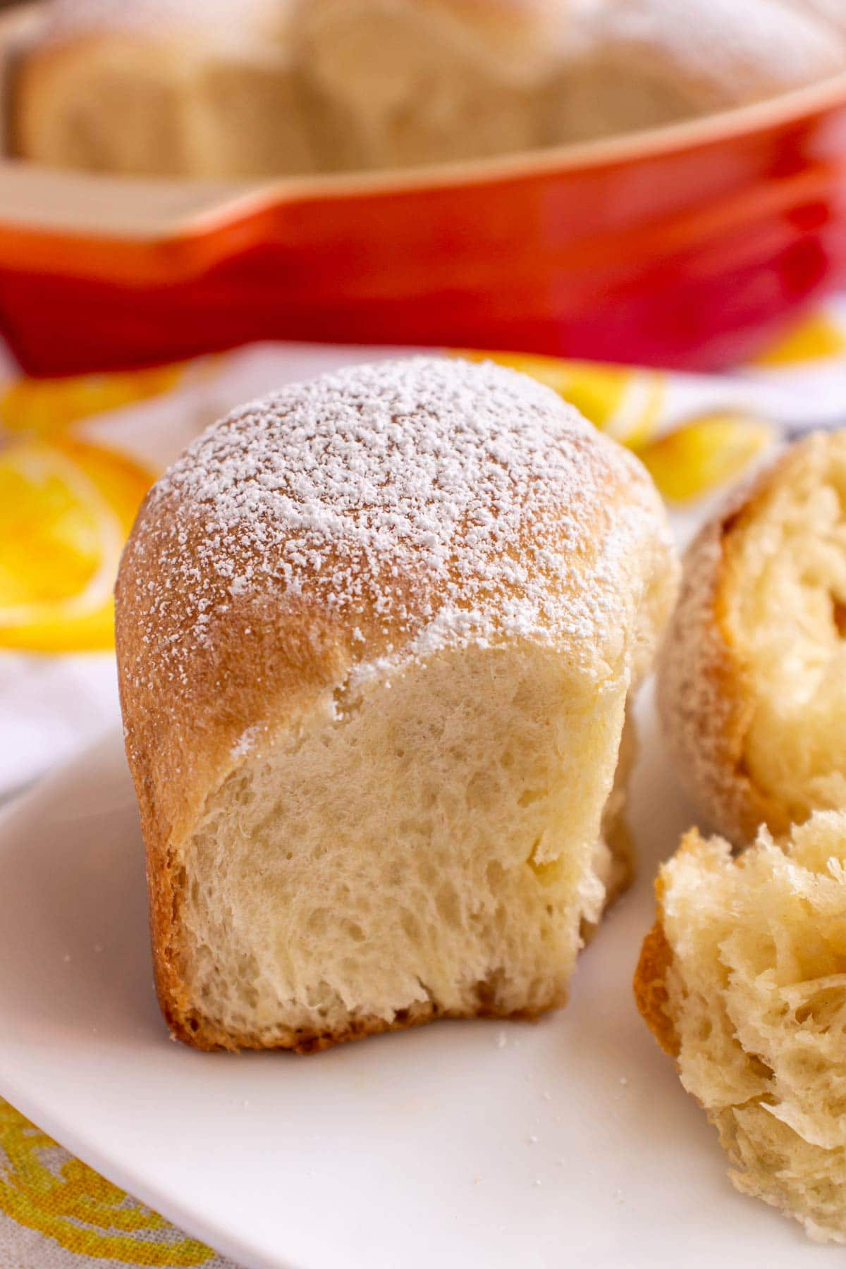 Closeup of an Austrian sweet roll topped with powdered sugar on a white plate.