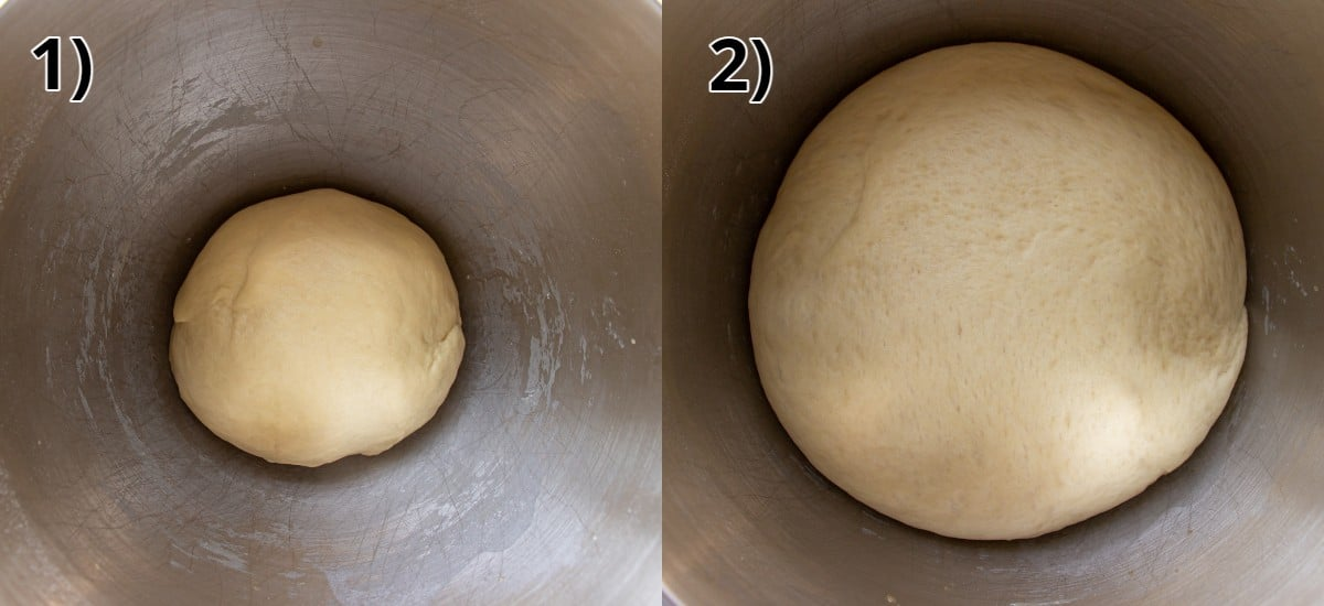 A ball of dough in a metal bowl before and after doubling in size.