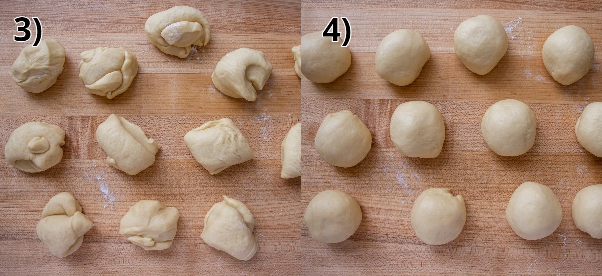 Small lumps of dough on a wooden board before and after shaping into balls.