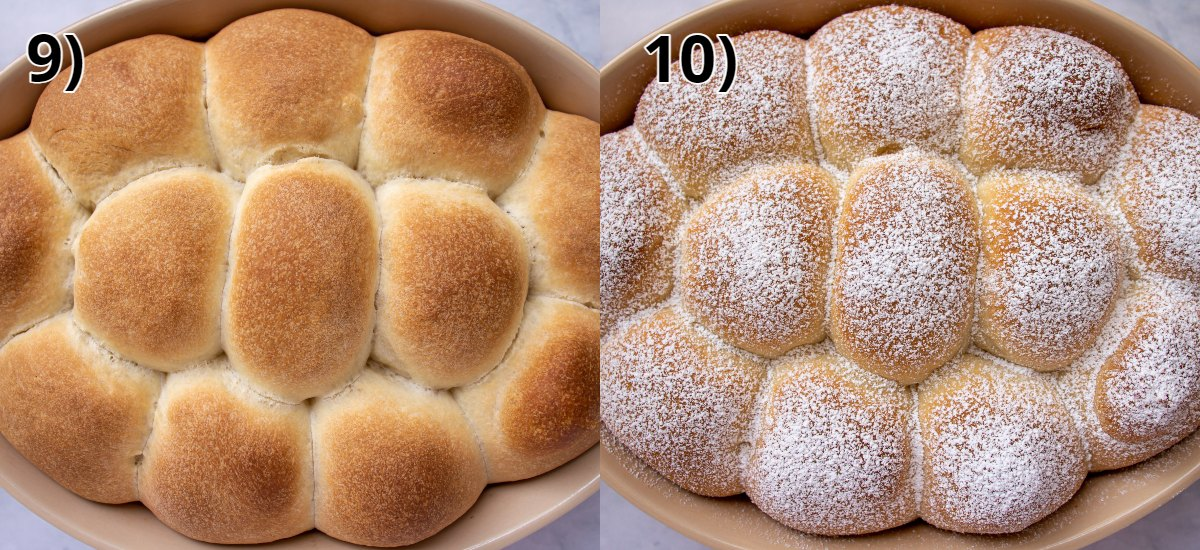 An oval baking dish of baked stuffed sweet rolls with and without powdered sugar on top.