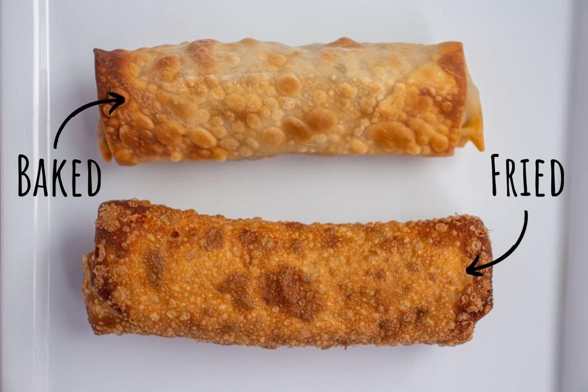 A baked egg roll next to a fried egg roll showing off the difference in appearance.