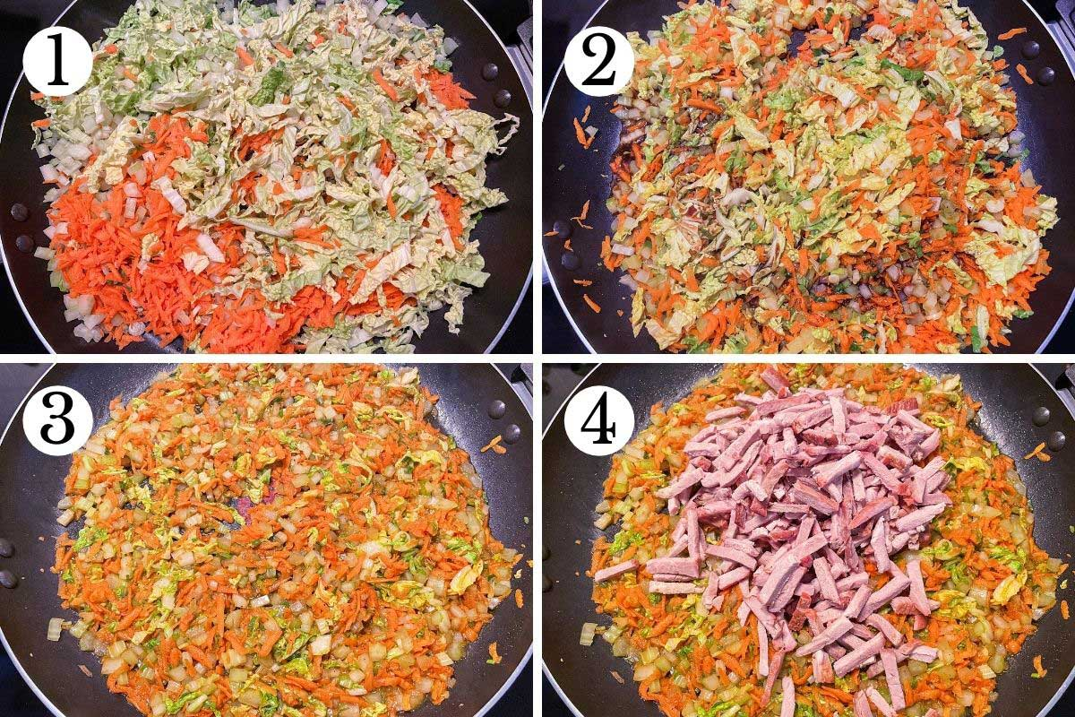 Step-by-step photos of making pork and vegetable egg roll filling in a skillet.