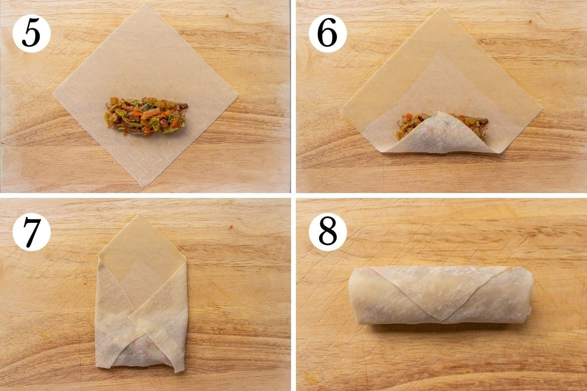 Step-by-step photos of how to roll up and egg roll on a wooden board.