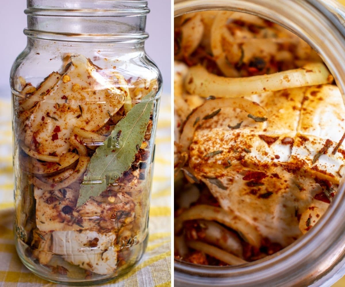 Side and overhead views of a jar of brie wedges, spices, and sliced onions.