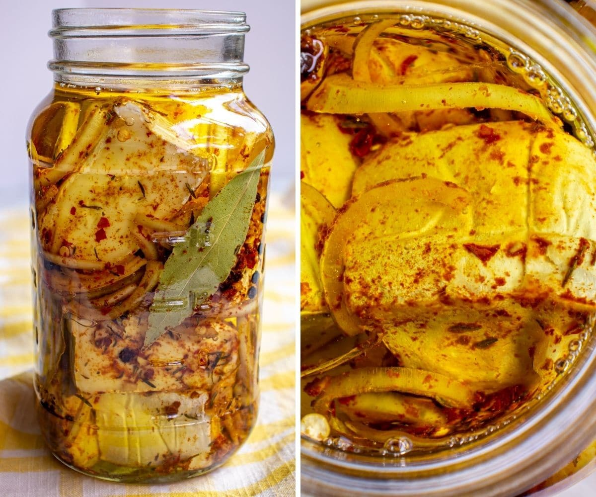 Side and overhead views of a jar of brie wedges, spices, and oil.