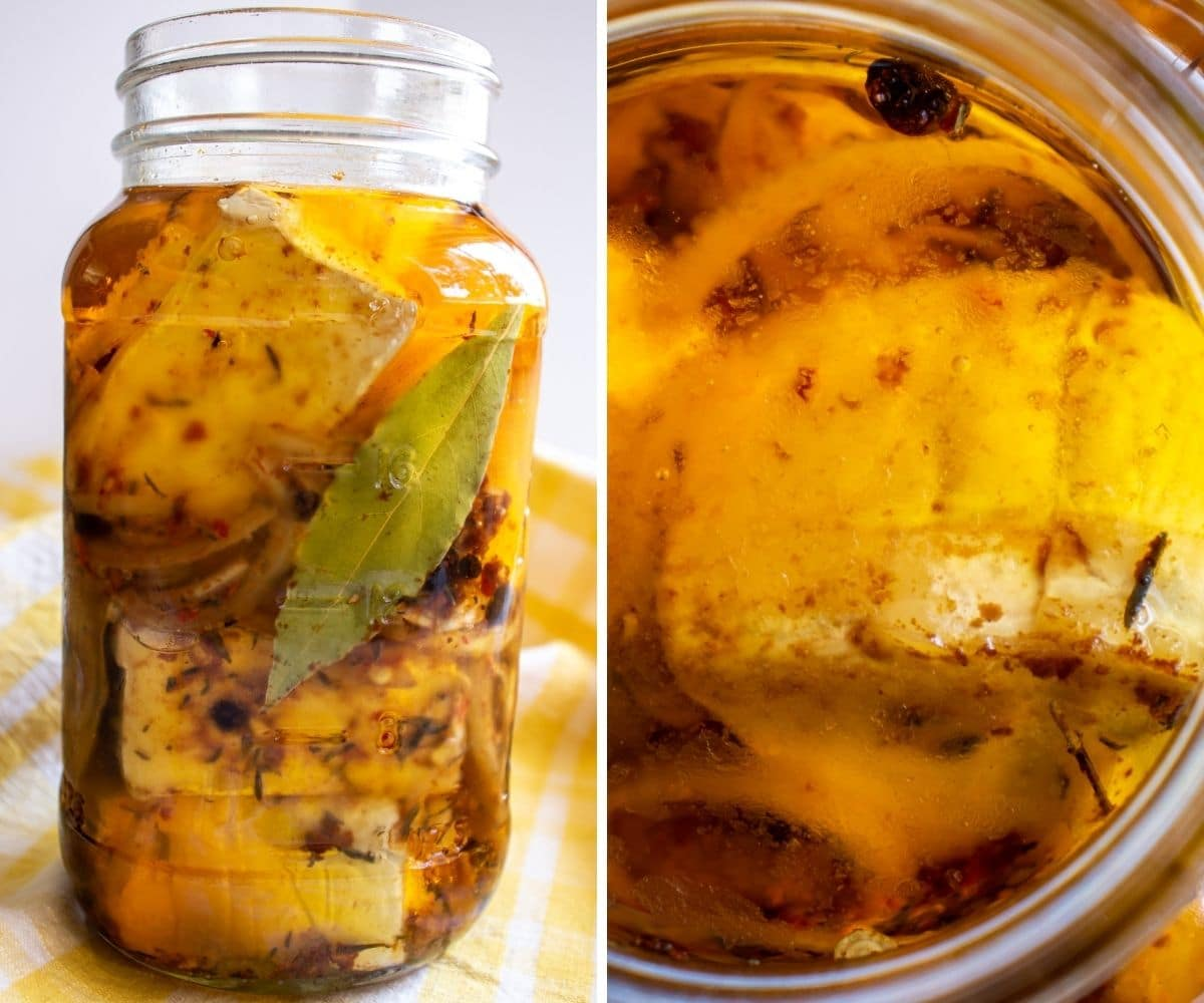 Side and overhead views of a jar of Nakladany Hermelin Czech marinated cheese.