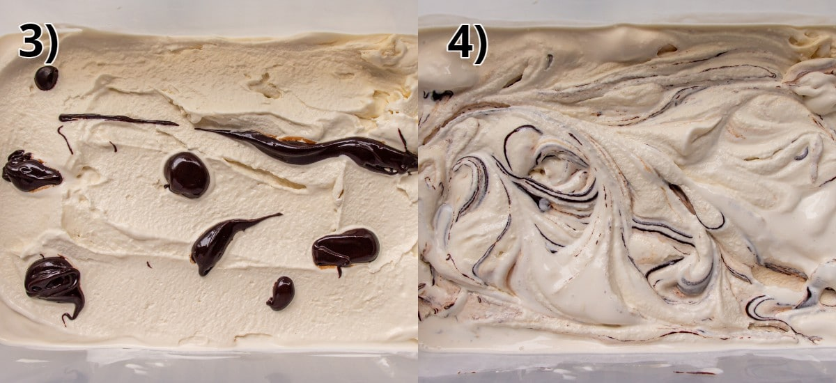 Step-by-step photos of swirling mocha ripple into ice cream in a rectangular container.