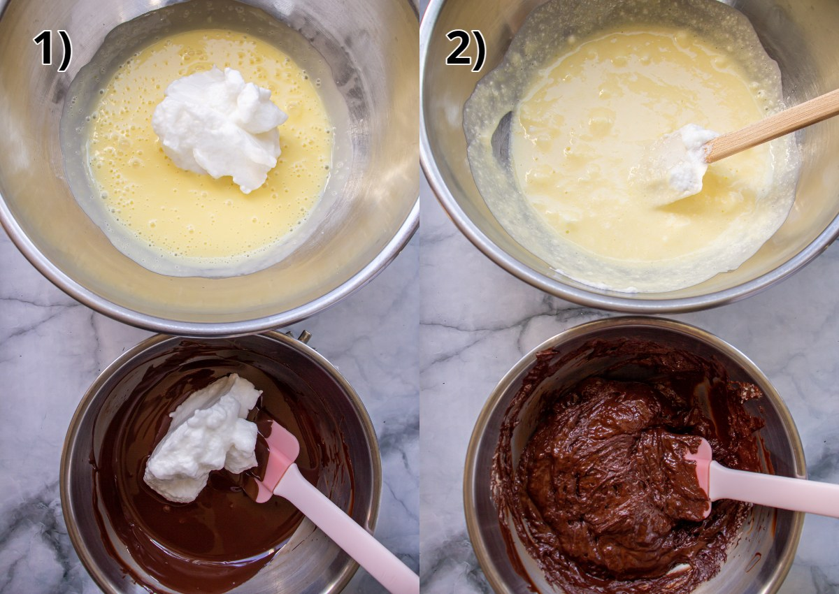 Bowls of custard and melted chocolate before and after folding in beaten egg whites.