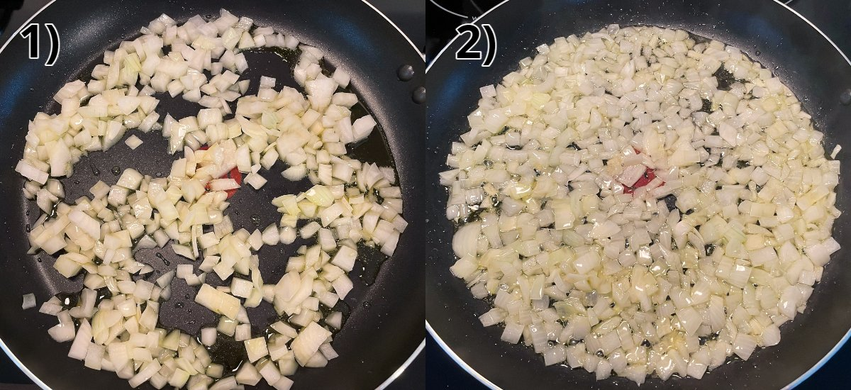 Before and after photos of sautéing chopped onions in a skillet.