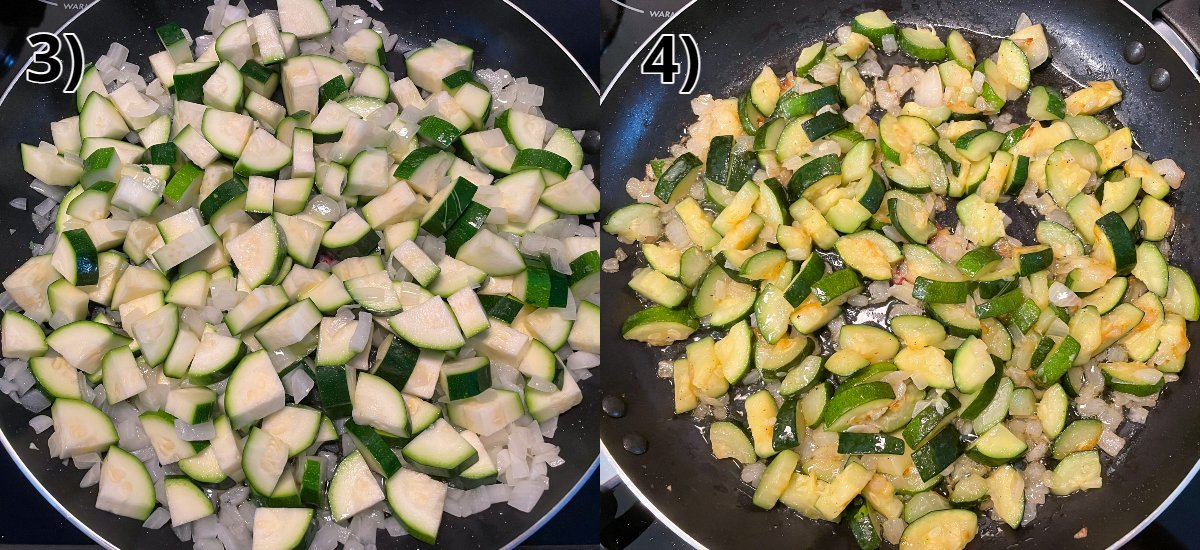 Before and after photos of sautéing chopped zucchini with onions in a skillet.
