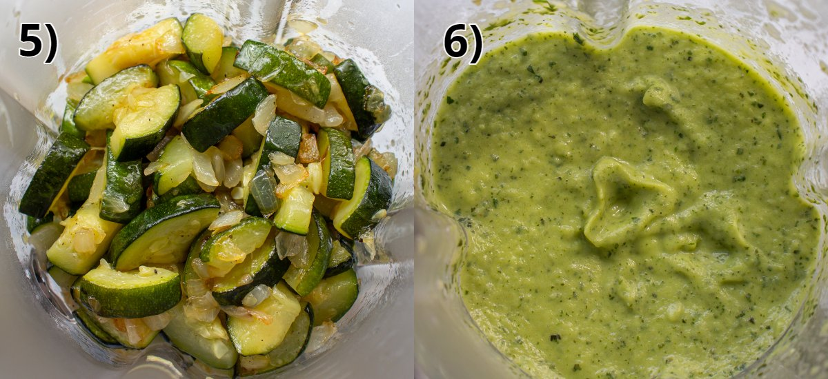 Before and after photos of pureeing cooked onions and zucchini in a blender.