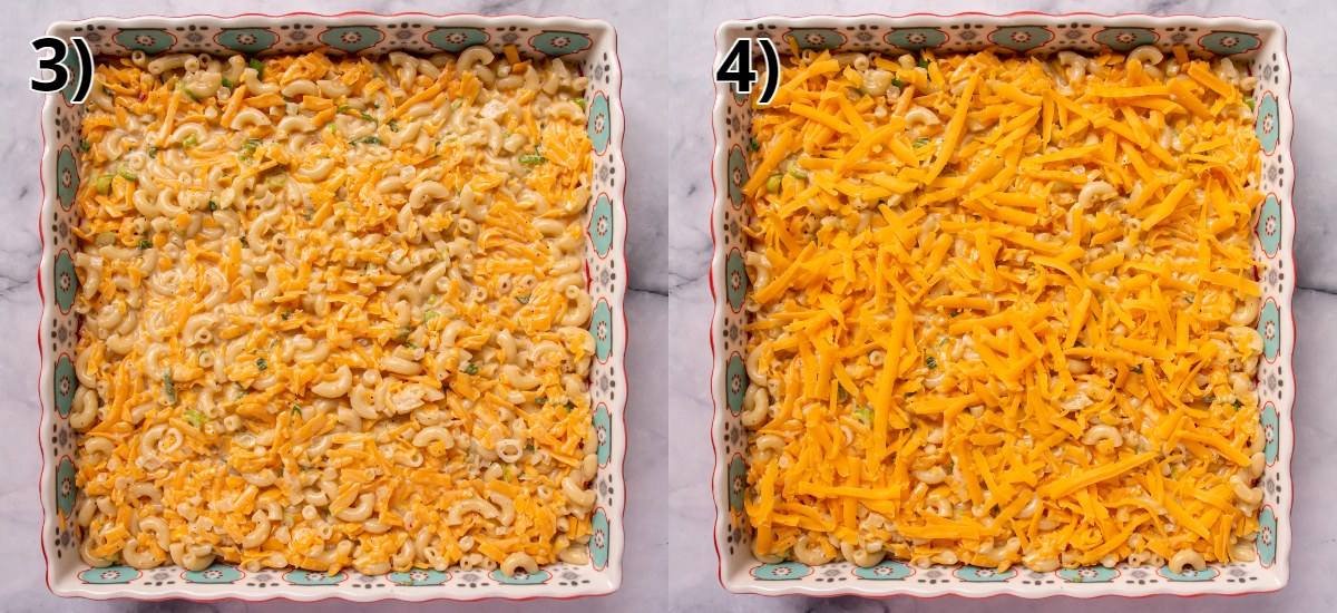 Before and after photos of adding shredded cheese on top of a macaroni and cheese casserole.
