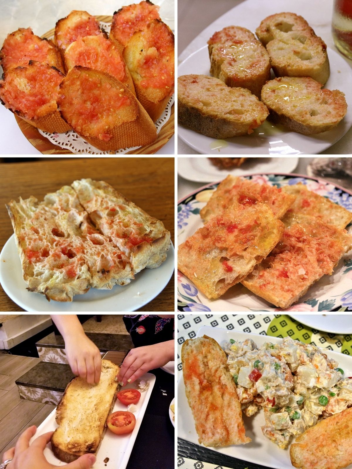 A collage of 6 photos of varieties of pan con tomate (Spanish tomato bread).