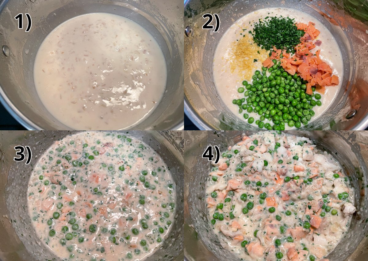 Step-by-step photos of making filling for fish pie.