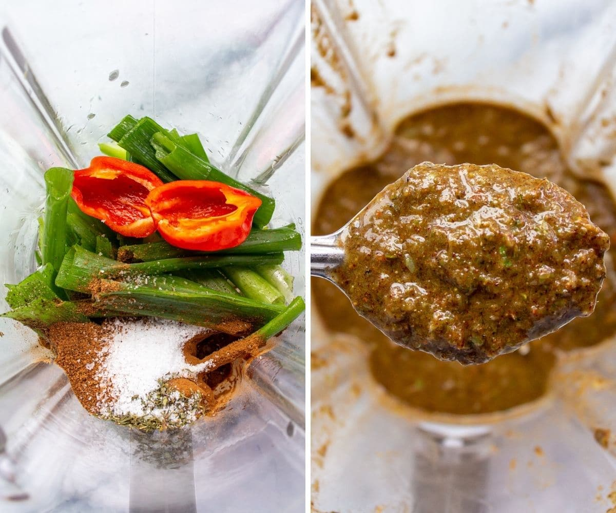 Before and after photos of Jamaican jerk seasoning pureed in a blender jar.
