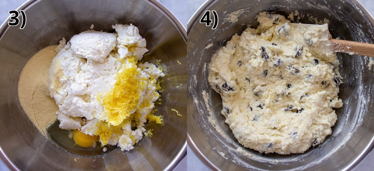 Before and after photos of mixing quark strudel filling in a metal mixing bowl.