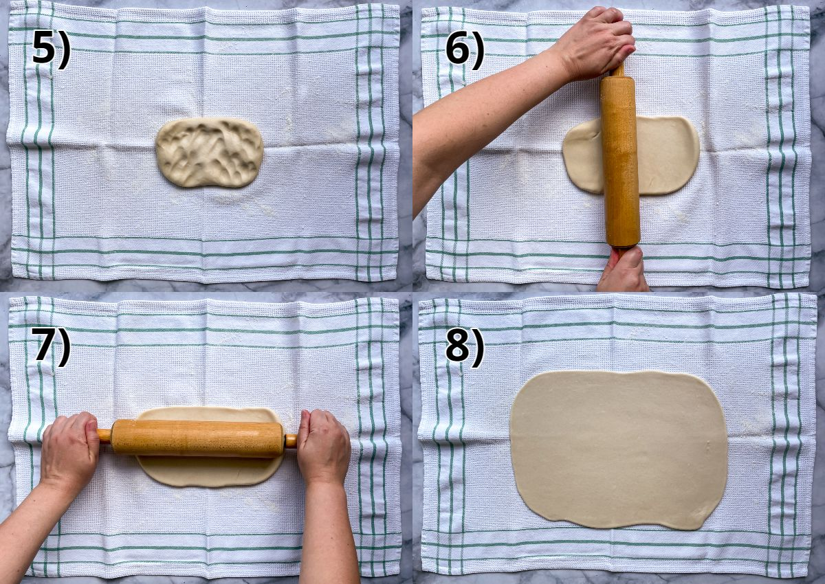 Step-by-step photos of rolling out dough on a kitchen towel with a rolling pin.