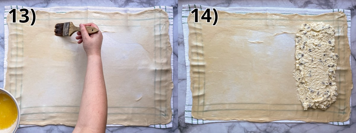 Step-by-step photos of brushing melted butter on strudel dough and topping with quark filling.