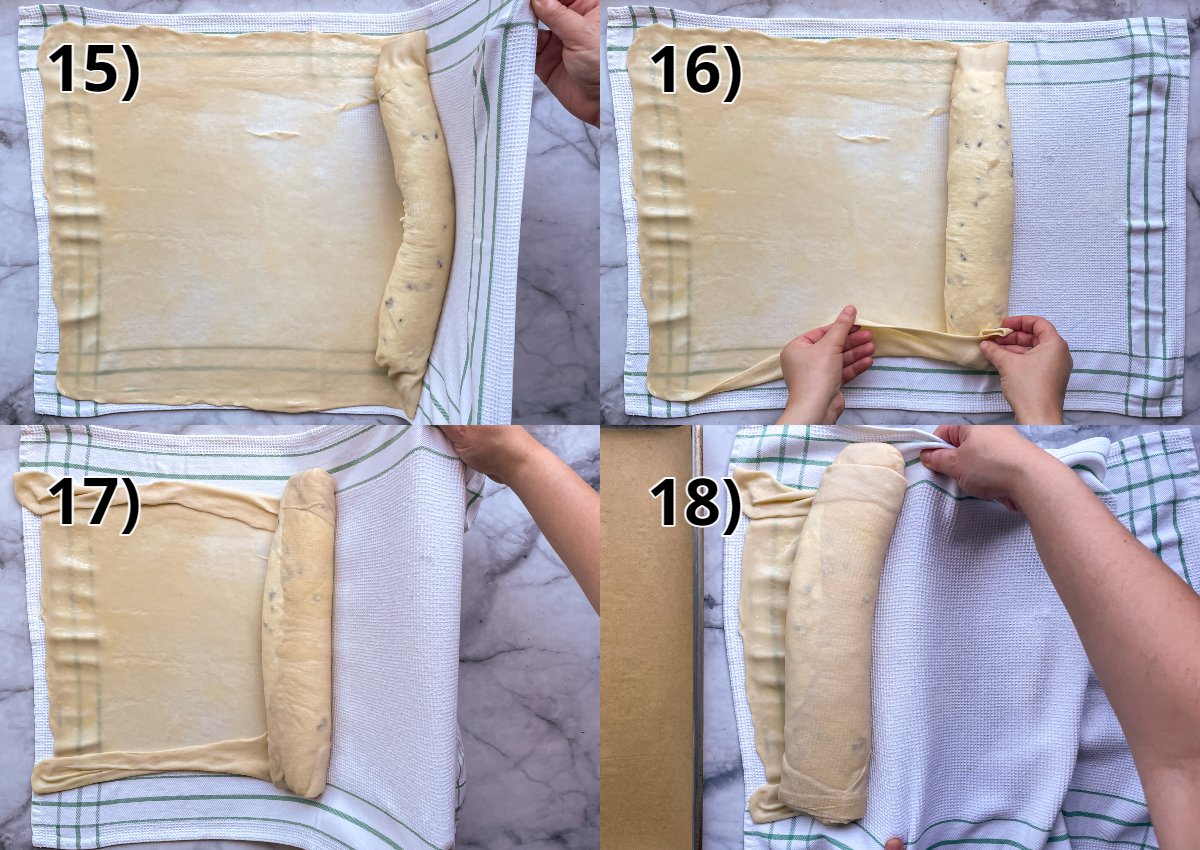 Step-by-step photos of rolling quark strudel into a long cylinder shape using a kitchen towel.
