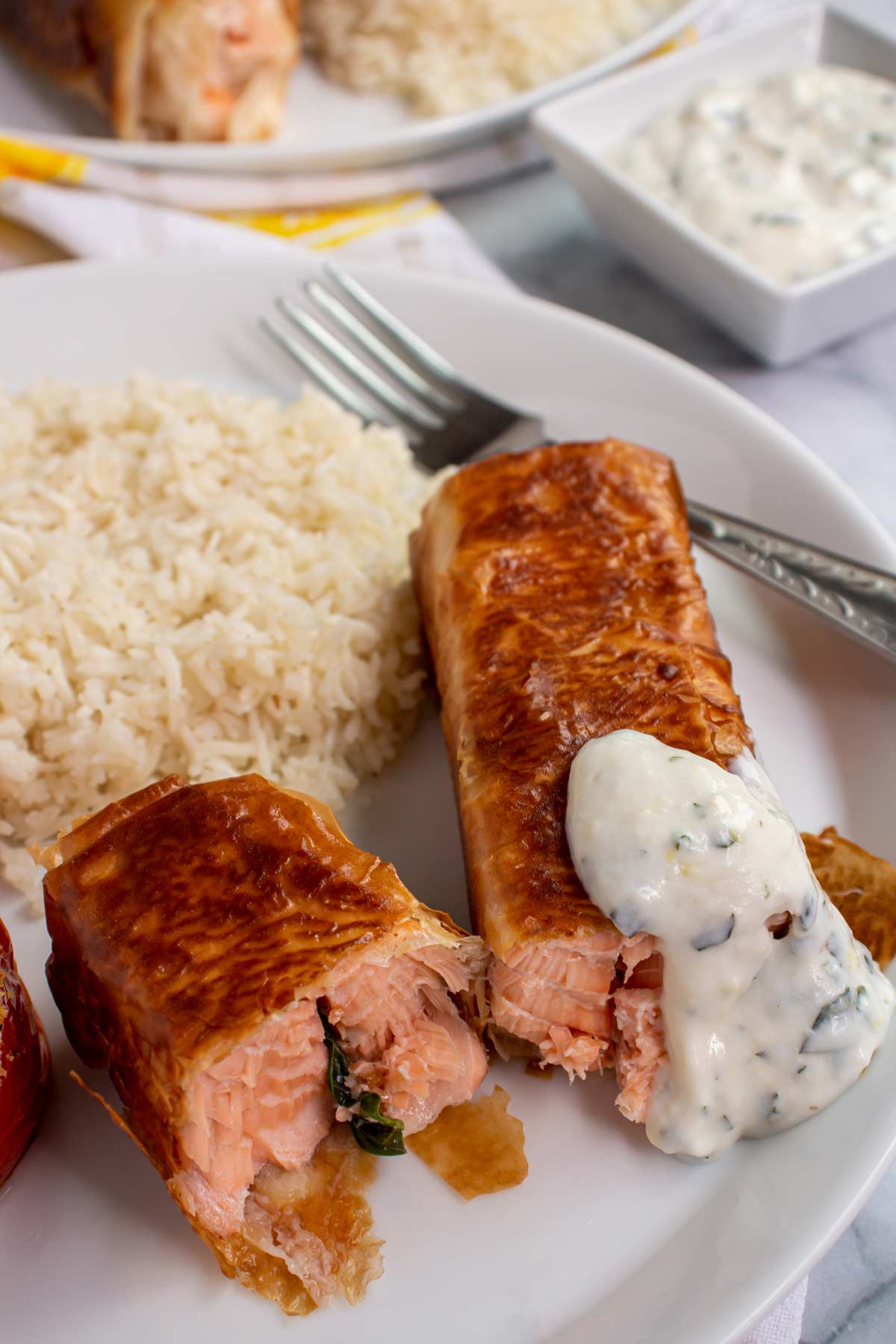 Wrapped salmon in phyllo with creamy sauce served with rice on a white plate.